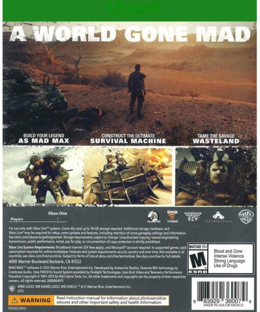 Hra Mad Max pro XBOX ONE XONE X1 konzole