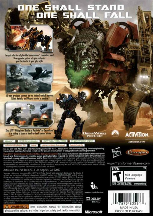 Hra Transformers: Revenge Of The Fallen pro XBOX 360 X360 konzole
